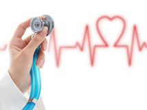 Doctor. Doctor. Blue stethoscope in hand. Stock Photography