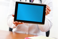 Doctor: Doctor Holding Blank Digital Tablet Royalty Free Stock Image