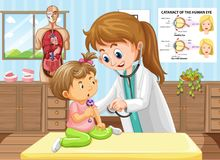 Doctor doing health check for baby. Illustration Royalty Free Stock Image