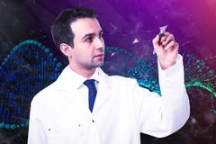 Doctor drawing DNA background. Male doctor drawing abstract DNA background. Occupation and innovation concept Royalty Free Stock Images