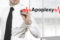 Doctor drawing heartbeat line apoplexy Royalty Free Stock Photos