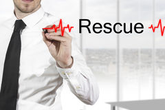 Doctor drawing heartbeatline rescue Royalty Free Stock Images