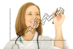 Doctor Drawing Upward Chart Stock Images
