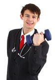 Doctor with dumbell. A doctor with a dumbell, isolated on white Stock Photo