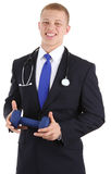Doctor with dumbell Stock Image