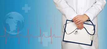 Doctor and ecg line on medical background Royalty Free Stock Image