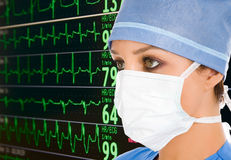 Doctor with ecg monitor. Female doctor with ecg monitor on background stock photo