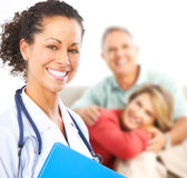 Doctor and elderly couple royalty free stock photography