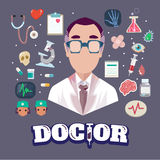 Doctor with elements. character -  Stock Photography