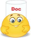 Doctor emoticon. Vector illustration of cool cartoon happy doctor smiles Royalty Free Stock Photos