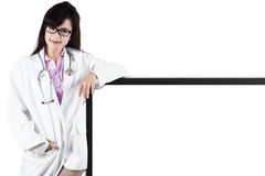 Doctor with empty board. As a copy space for text or design Royalty Free Stock Photography