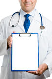 Doctor with empty clipboard Royalty Free Stock Images