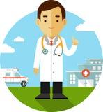 Doctor en fondo médico Imagen de archivo libre de regalías