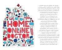Doctor en línea casero El poner letras con garabatos en forma de la casa ilustración del vector