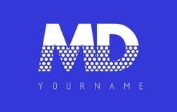 Doctor en Medicina M D Dotted Letter Logo Design con el fondo azul Imágenes de archivo libres de regalías