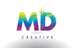 Doctor en Medicina vector del diseño de los triángulos de M D Colorful Letter Origami Fotografía de archivo libre de regalías