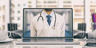 Doctor en un ordenador portátil en un escritorio de oficina ilustración 3D stock de ilustración