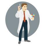 Doctor en vestido médico con la jeringuilla y el caramelo en manos, DES plano ilustración del vector