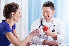 Doctor encouraging patient to health lifestyle Stock Photo