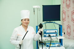 Doctor with endoscope ready for work Royalty Free Stock Images