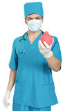 Doctor with an enema syringe Royalty Free Stock Images