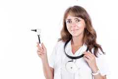Doctor ENT is holding the Otoscope Stock Photo