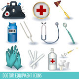 Doctor equipment icons. Set of 12 different doctor equipment icons separately grouped and isolated on white background Royalty Free Stock Photography