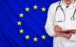Doctor and EU flag Stock Photography