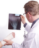 Doctor exam one X-ray picture of sprained Hand Stock Photos