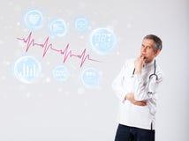 Doctor examinating modern heartbeat graphics Royalty Free Stock Photos