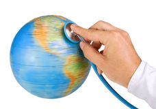Doctor examine the Earth Stock Photos