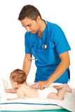 Doctor examine spine to baby royalty free stock photo