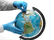 Doctor examine with stetoscope the ill Earth Stock Photography