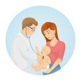 Doctor examines baby. stock illustration