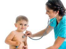 Doctor examining child boy isolated Stock Image