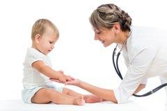 Doctor examining child girl isolated on white Royalty Free Stock Images