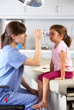 Doctor Examining Child's Eyes In Doctor's Office Stock Photos