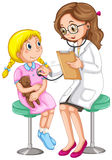 Doctor examining little girl. Illustration Stock Photo