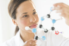Doctor Examining Molecular Structure In Laboratory. Closeup of young female doctor examining molecular structure in laboratory Royalty Free Stock Images