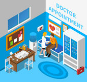 Doctor Examining Patient Isometric Poster. Doctor appointment with cardiologist examining male patient in consulting room with heart symbol poster isometric Stock Photography