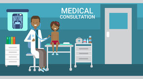 Doctor Examining Patient Medical Consultation Health Care Clinics Hospital Service Medicine Banner. Flat Vector Illustration Stock Images