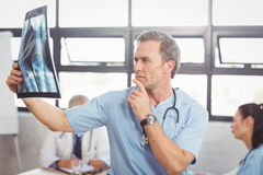 Doctor examining an x-ray report in conference room. Doctor examining a x-ray report in conference room and colleagues discussing in background Royalty Free Stock Photo