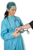 Doctor examining to a patient Stock Photography