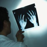 Doctor examining x-rays. Royalty Free Stock Images