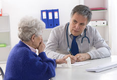 Doctor explaining diagnosis to his senior stock image