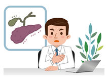 Doctor explaining the pancreas and gall bladder. Vector illustration. Original paintings and drawing Royalty Free Stock Photography