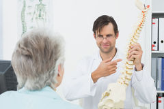 Doctor explaining the spine to patient in medical office Royalty Free Stock Photo