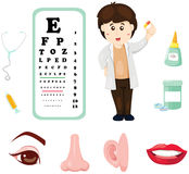 Doctor with eye chart ,medicine and part of body Stock Photography
