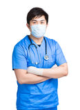 Doctor with face mask in surgical uniform Royalty Free Stock Image