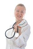Doctor feliz con el estetoscopio Foto de archivo